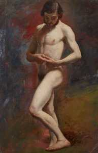 William Etty - Estudio académico todaclasede  Un  masculino  desnuda  de pie