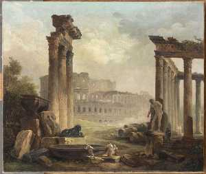 Hubert Robert - RUINAS ROMAINES CON LE COLISEE
