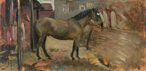 Alfred James Munnings - Un caballo de bahía En Un  estable  dorso