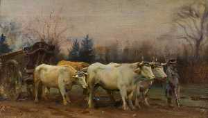 Alfred James Munnings - Blanco Bueyes , Barón Robert's Estado , Chantilly
