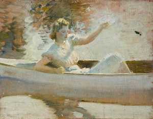 Alfred James Munnings - Estudiar para 'The Blanco Canoe'
