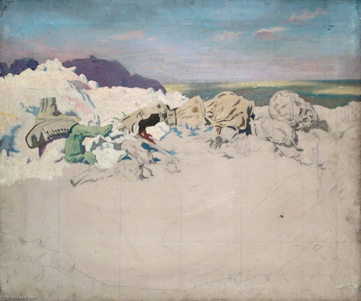 beaumont hamel, 1920 de William Newenham Montague Orpen (1878-1931, Ireland) | Reproducciones De Pinturas Famosas | WahooArt.com