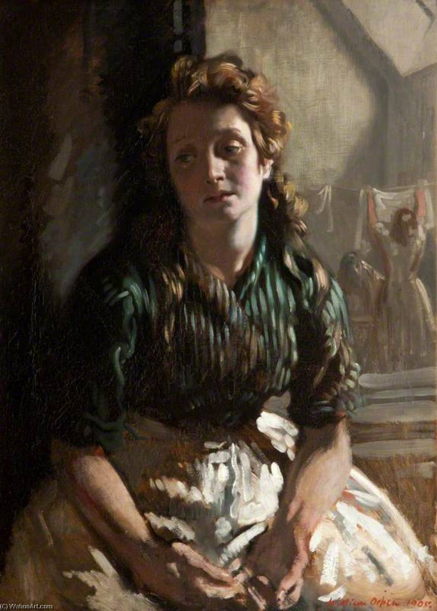 descanso, óleo sobre lienzo de William Newenham Montague Orpen (1878-1931, Ireland)