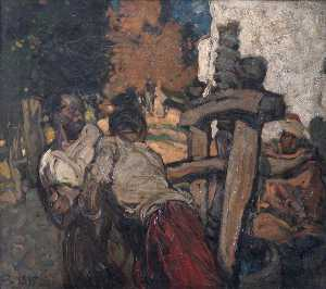 Frank William Brangwyn - el aceituna prensa
