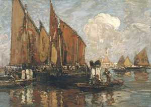 Frank William Brangwyn - Venecia San Mark's desde el Laguna
