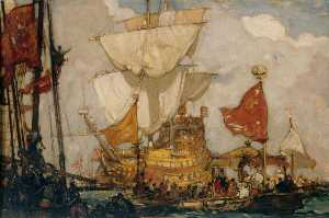 Frank William Brangwyn - reina elizabeth ir a bordo el 'Golden Hind' a Deptford
