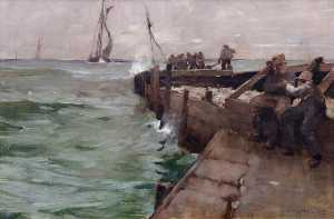 Frank William Brangwyn - construyendo south pier , Mevagissey
