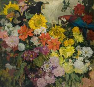 Frank William Brangwyn - Flores y Pájaros 'Dahlias'