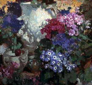 Frank William Brangwyn - Cinerarias