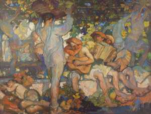 Frank William Brangwyn - el vino prensa