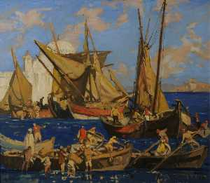 Frank William Brangwyn - Dhows Cargando