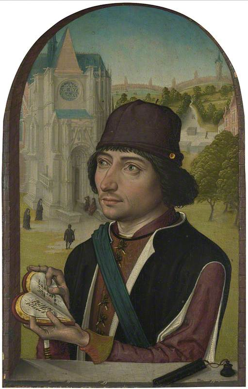 retrato de un jóven hombre, aceite de Master Of The View Of Saint Gudule