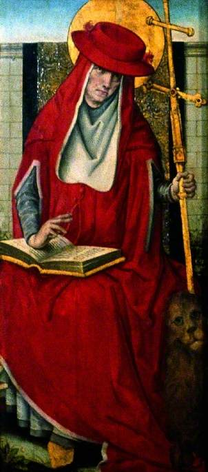 santa Antonio  dorso , oleo en panel de Master Of The View Of Saint Gudule