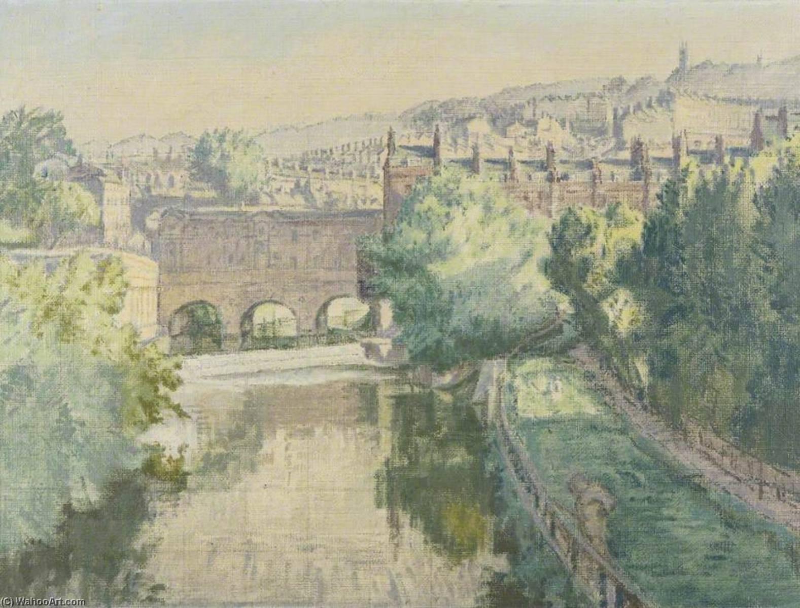 Pulteney Puente sobre el el avon a Baño, óleo sobre lienzo de ...