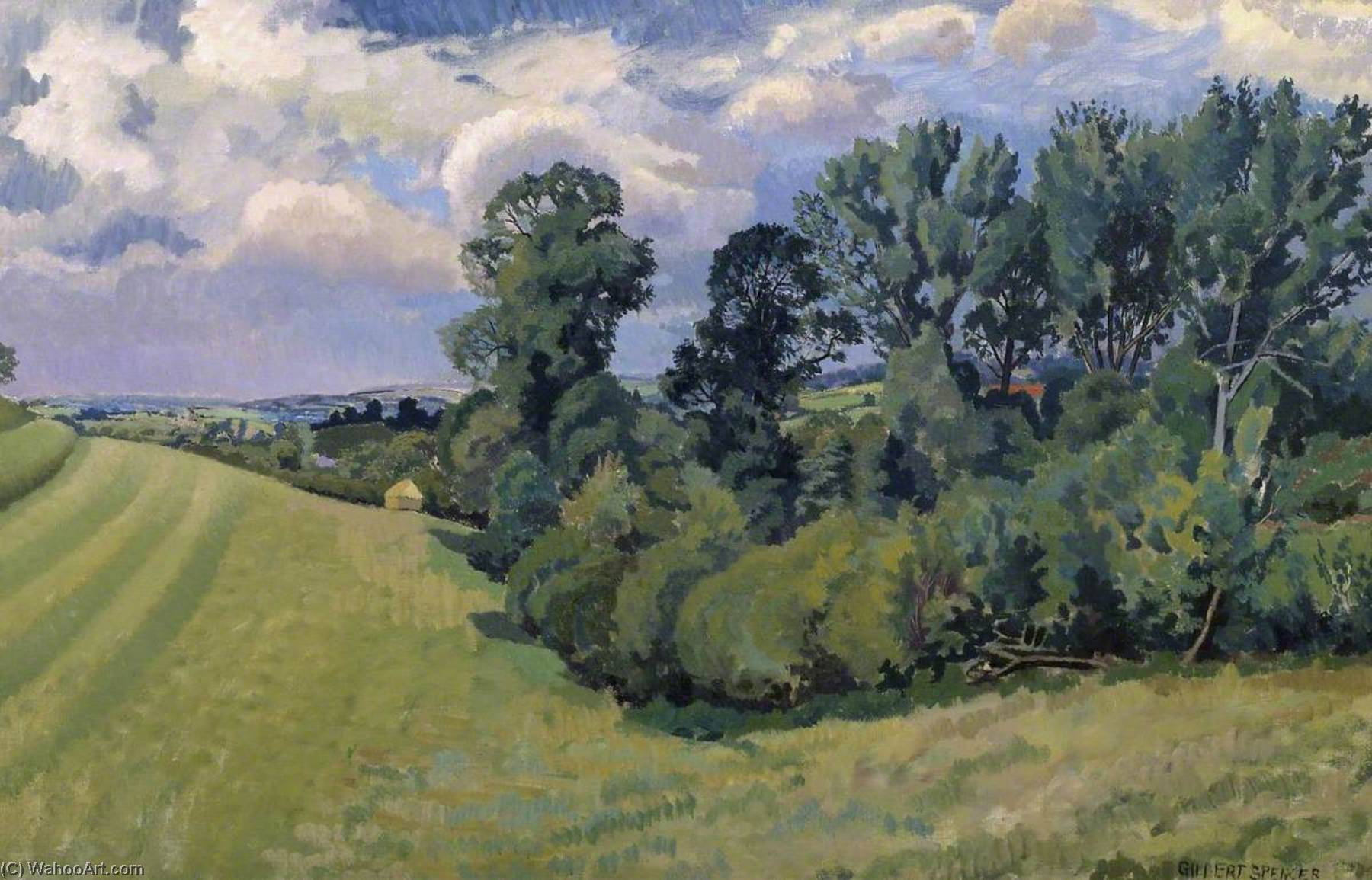 Blackmore Valle de compton abbas, óleo sobre lienzo de Gilbert Spencer (1892-1979, United Kingdom)