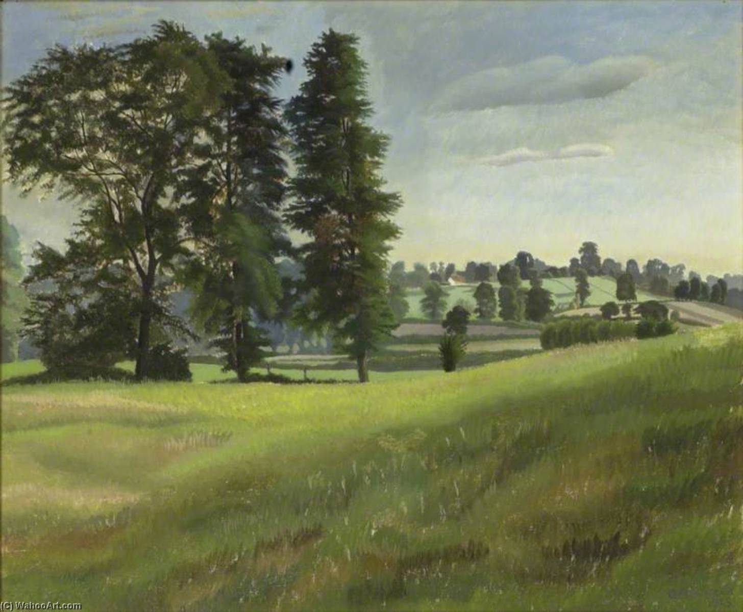 Olmo Árboles en Garsington, 1925 de Gilbert Spencer (1892-1979, United Kingdom) | WahooArt.com