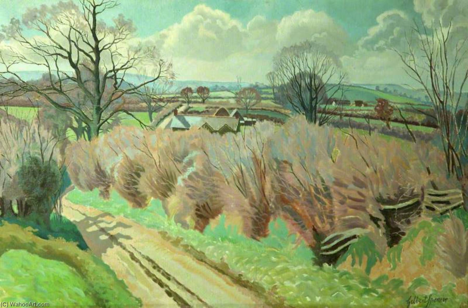 Twyford , Dorset, óleo sobre lienzo de Gilbert Spencer (1892-1979, United Kingdom)