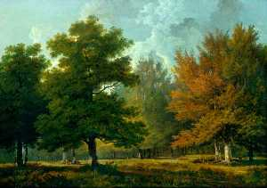 George Barret The Elder - paisaje del bosque  escena