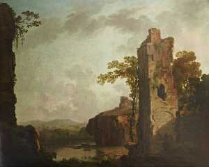 George Barret The Elder - paisaje con una arruinado  TORRE