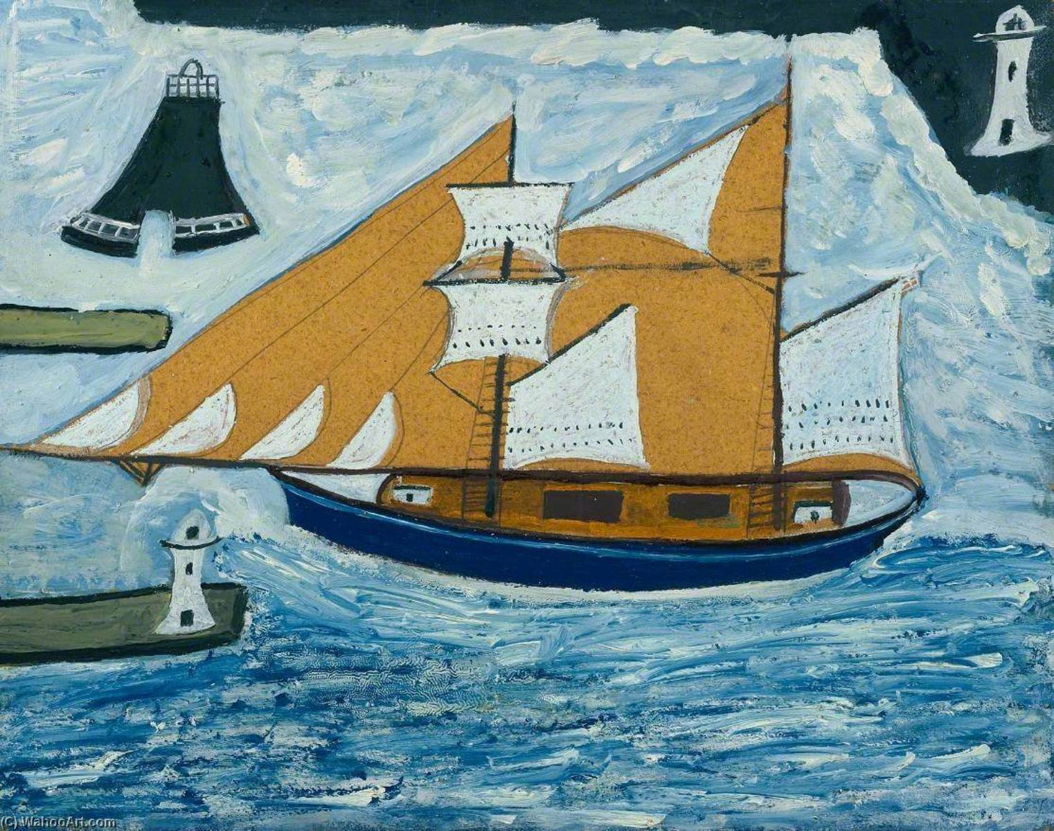 el azul despachar , madera de Alfred Wallis (1855-1942, United Kingdom)