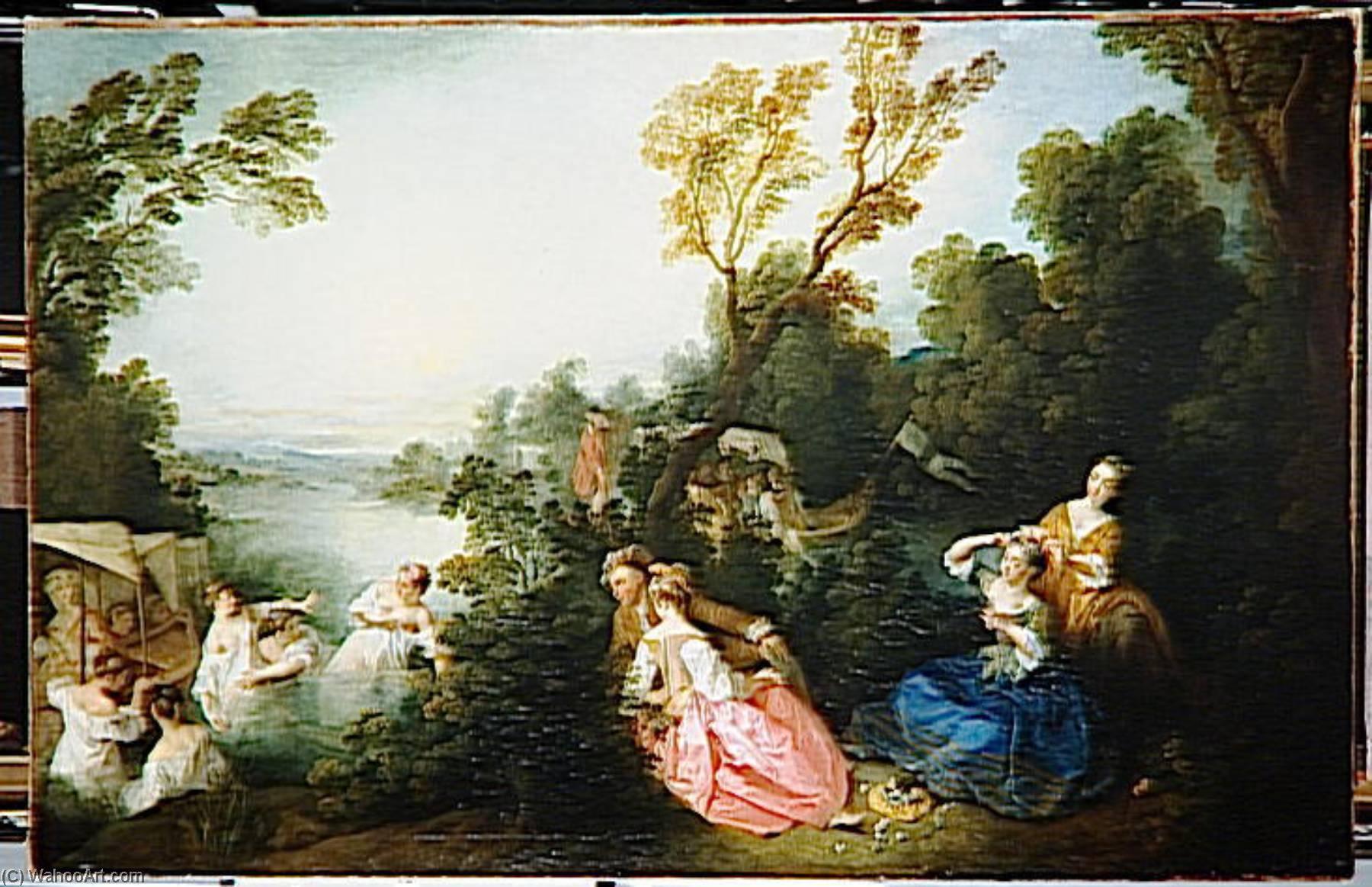 LES PLAISIRS DU BAÑO, aceite de Nicolas Lancret (1690-1743, France)