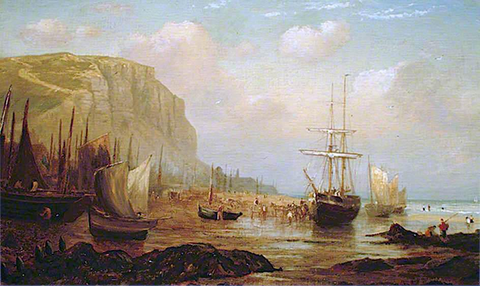 east cliff , Hastings , east sussex , y pesca Buques, 1860 de William Henry Borrow | Copia De La Pintura | WahooArt.com