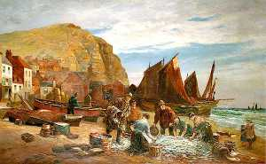 William Henry Borrow - Pescadores en el Stade , Hastings , east sussex