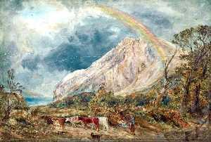 William Joseph Julius Caesar Bond - paisaje con un arcoiris asícomo  ganado