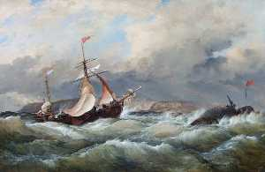 Edward William Cooke - Un galliot holandés Entrar Aberdeen Puerto en un Tormenta