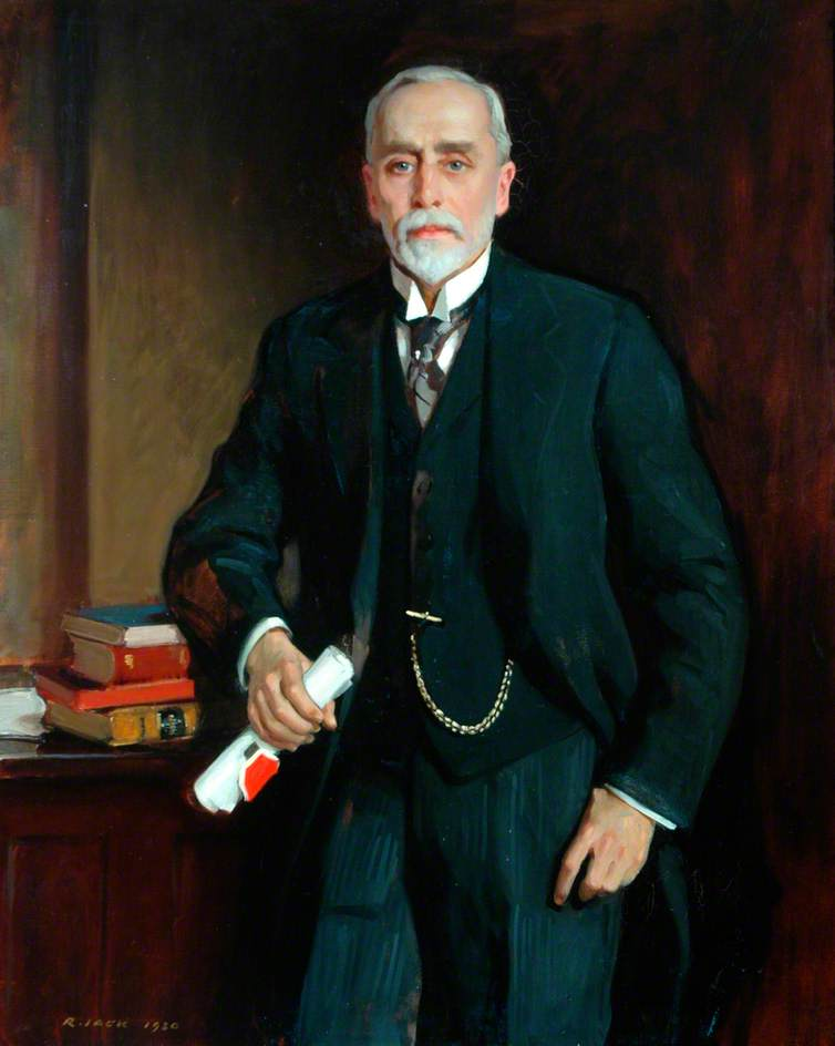 Señor James Pag . Hinchcliffe , presidente del consejo del condado de west riding de yorkshire ( 1916–1933 ), óleo sobre lienzo de Richard Jack (1866-1952, United Kingdom)