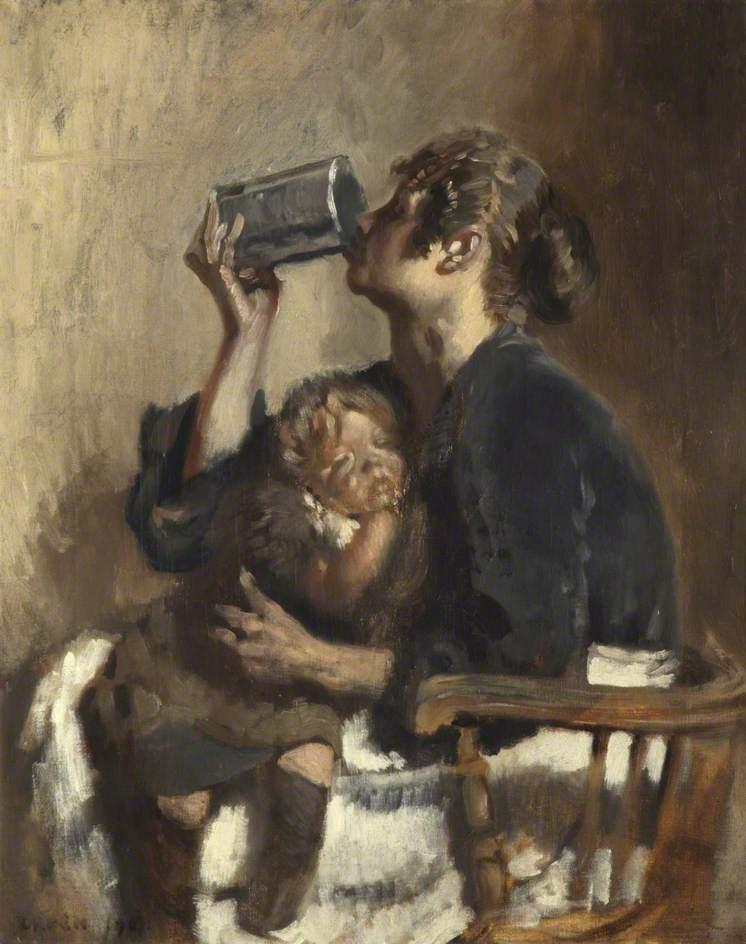 Lottie y el Bebé, 1907 de William Newenham Montague Orpen (1878-1931, Ireland) | Arte De La Reproducción | WahooArt.com
