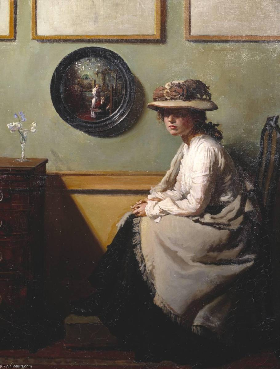 el espejo, óleo sobre lienzo de William Newenham Montague Orpen (1878-1931, Ireland)