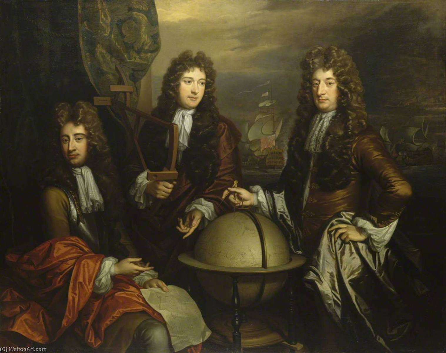 john benbow ( 1653–1702 ) , Señor ralph delavalle ( do . 1645–1707 ) , asícomo thomas phillips ( do . 1635–1693 ), óleo sobre lienzo de Thomas Murray
