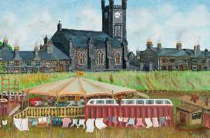 William Piper - Circo y Muestra en el Haugh , Backbrae Calle y Parroquia Iglesia , Kilsyth