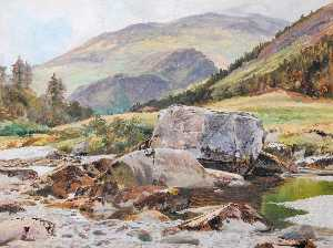 Frederick William Hayes - Rocas en el Glaslyn Río