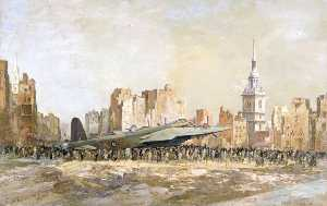 Charles Ernest Cundall - Stirling Bombardeo , Arco Iglesia , De londres