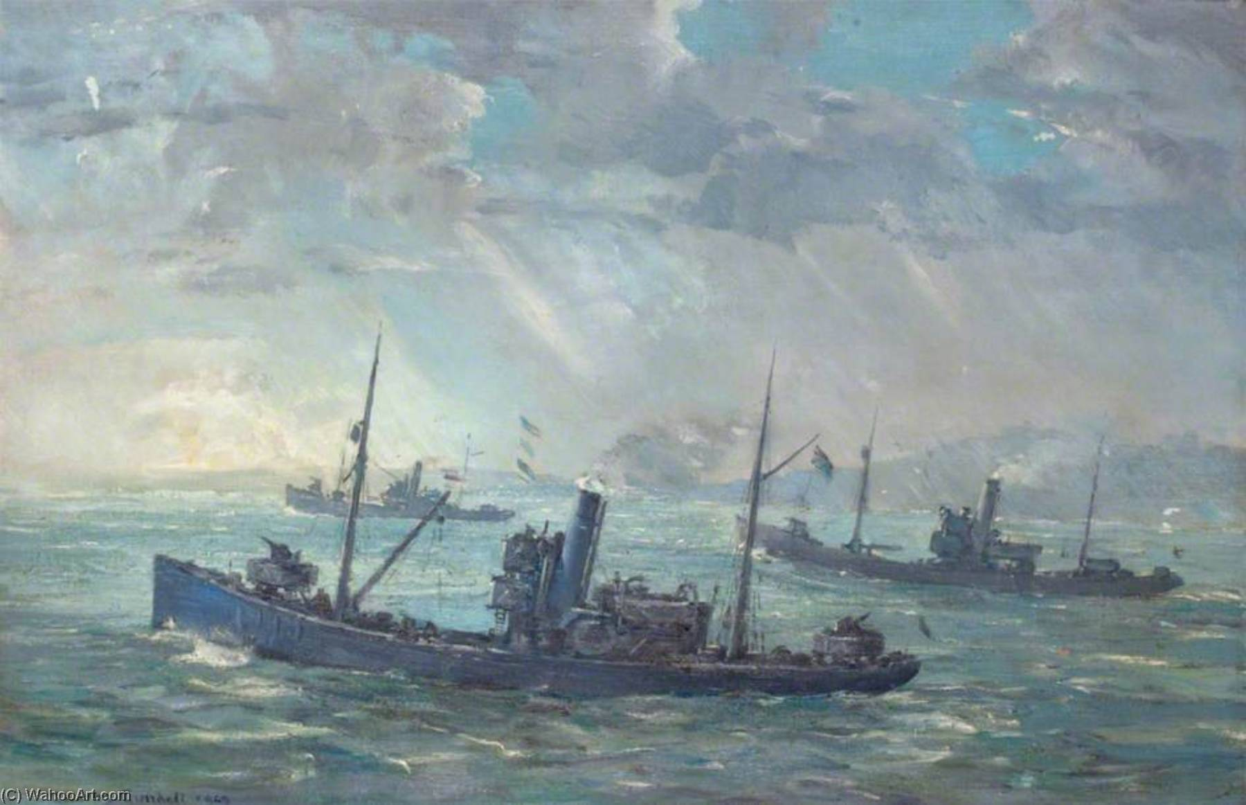 Minesweepers, óleo sobre lienzo de Charles Ernest Cundall