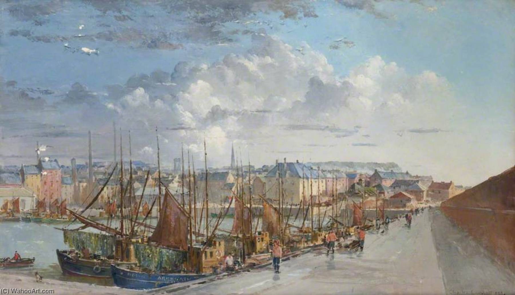Arbroath Puerto, aceite de Charles Ernest Cundall