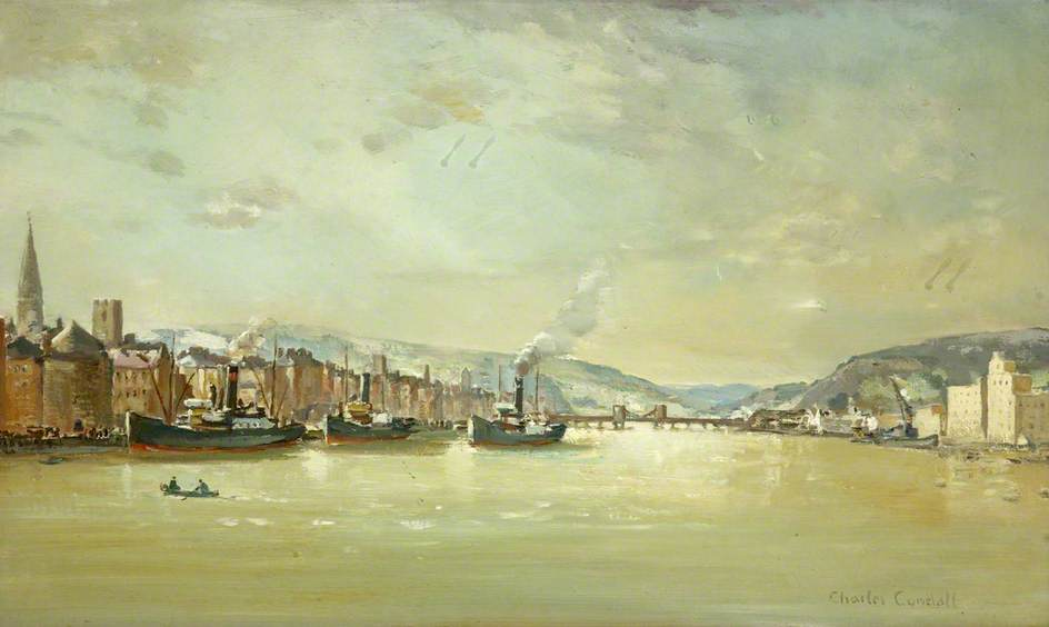 el muelle , Waterford, óleo sobre lienzo de Charles Ernest Cundall