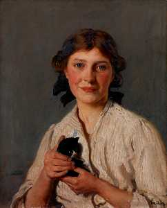 Frederick William Elwell - chica con una gatito