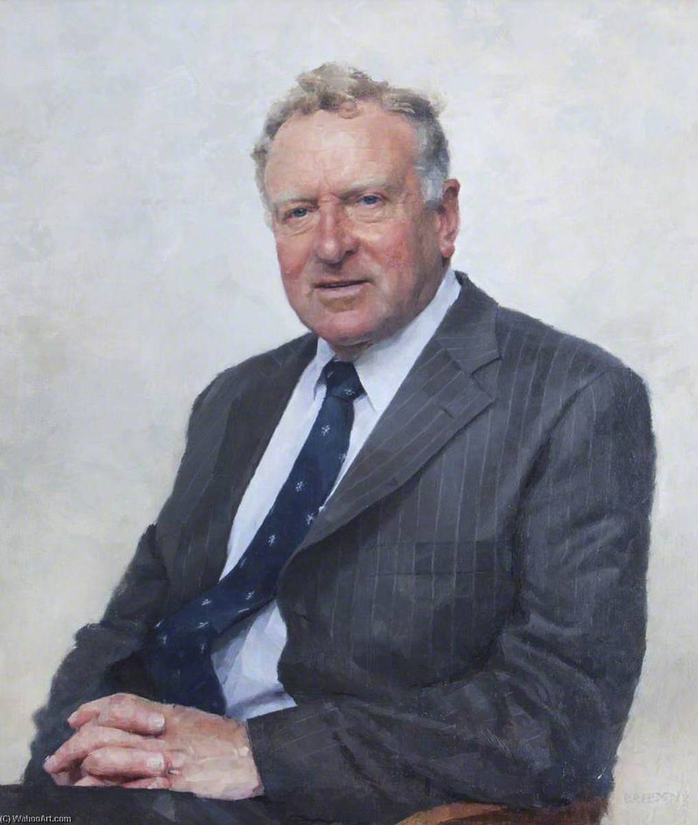 david r . Holmes , MASSACHUSETTS , Honesto . DCL , Registrador de los Universidad de Oxford ( 1998–2006 ), óleo sobre lienzo de Keith Breeden