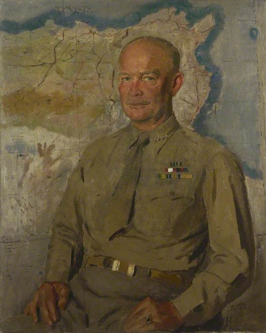 General Dwight Re . Eisenhower ( 1890–1969 ), óleo sobre lienzo de Henry Marvell Carr