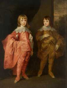 Thomas Robson - Jorge Villiers ( 1628–1687 ) , 2nd Duque de buckingham , y sus Hermano , Francisco Villiers ( 1629–1648 ) ( copia después de anthony camioneta Dyck )