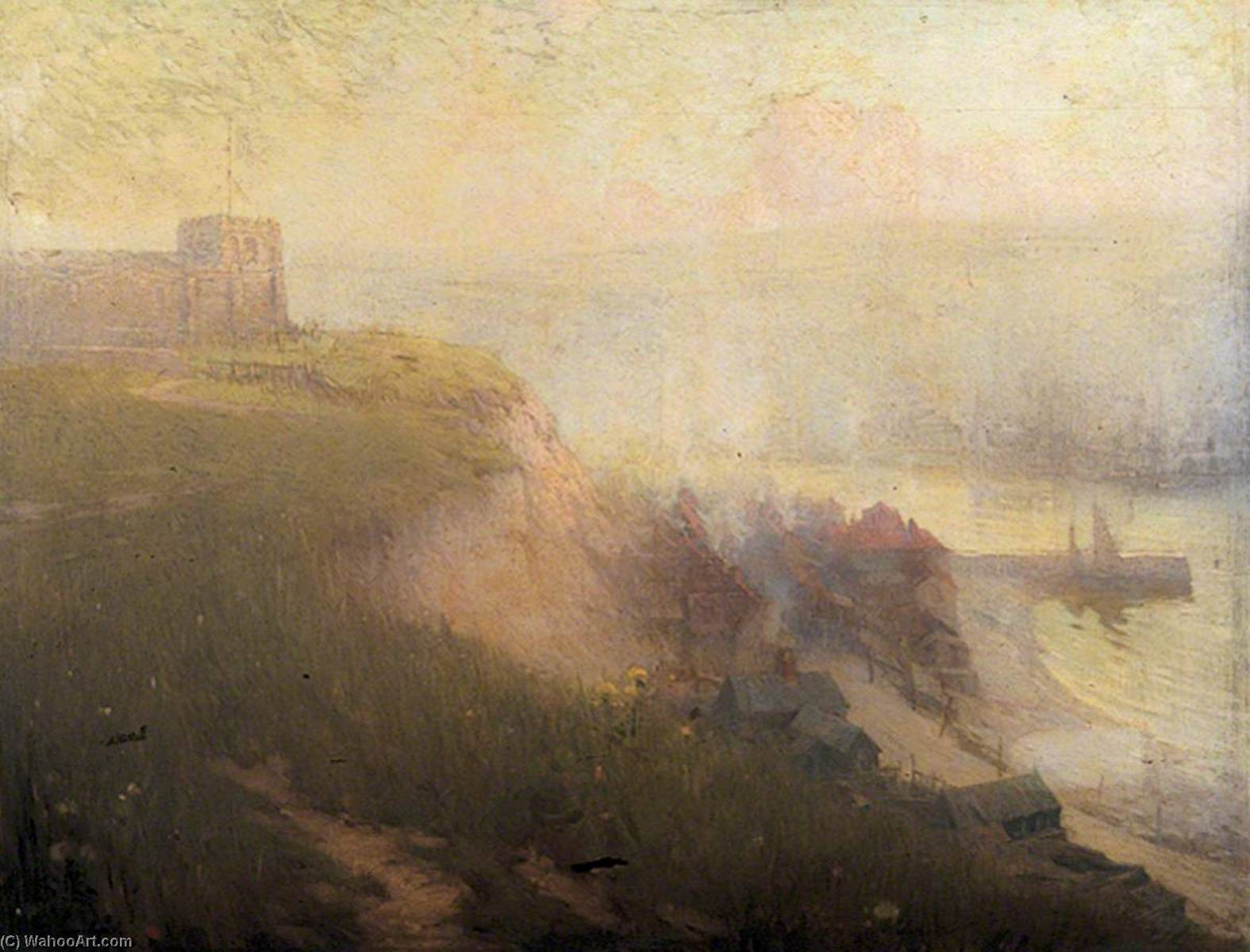 old whitby , yorkshire del norte, óleo sobre lienzo de Samuel Henry William Llewellyn