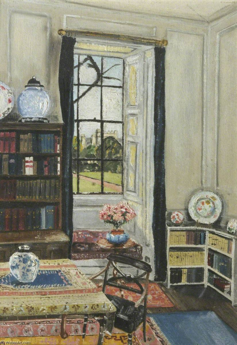 Interior Hinshelwood's Habitación, aceite de Cyril Norman Hinshelwood (1897-1967, United Kingdom)