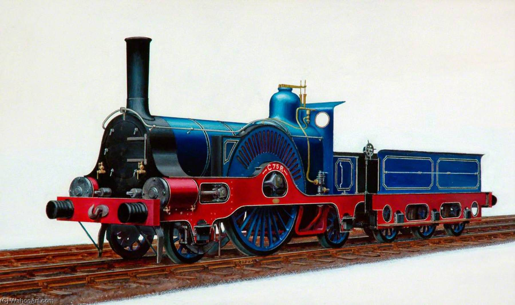 Caledoniano coche  2–2–2   locomotora  C75R  , aceite de Henry Maurice Whitcombe