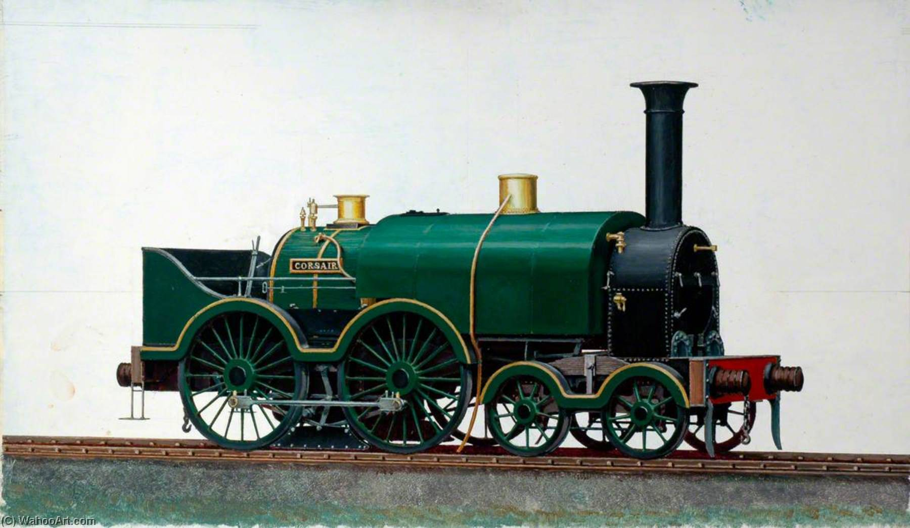 great western Ferrocarril 4–4–0 Saddletank Locomotora 'Corsair', aceite de Henry Maurice Whitcombe