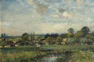 William Mark Fisher - paisaje con un arroyo , Chantreuil , Francia