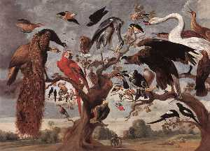 Jan Van Kessel The Elder - la burla todaclasede  el  búho