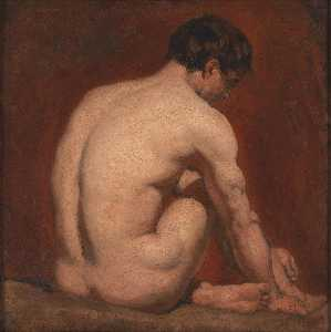 William Etty - Desnudo masculino de rodillas  de  el  reverso